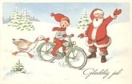 Danish Christmas Card - Santa And An Elf On A Moped - Unused - Artist HCP - Santa Claus