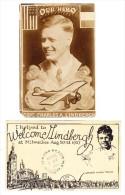 Lot 2 Flug A.K. Capt. Ch. Lindbergh Seltene Fotokarte (Eckmangel) + Milwaukee Meeting (Nadelloch) Beide Gelaufen - Célébrités
