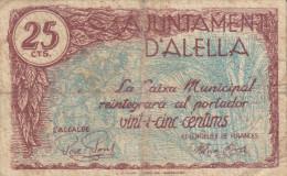 BILLETE LOCAL GUERRA CIVIL 25 CTS. D`ALELLA - Espagne