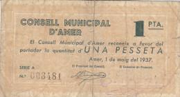 BILLETE LOCAL GUERRA CIVIL 1 PTS CONSELL MUNICIPAL D`AMER - Espagne