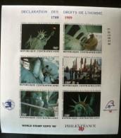 CENTRAFRIQUE Declaration Des Droits De L'homme, Philexfrance 89, Statue De La Liberté. Yvert 808/13 NON DENTELE, IMPERF - Altri