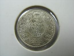 INDIA 2 TWO  ANNAS 1917 BRITISH INDIA SILVER COIN NICE GRADE   LOT 30 NUM 13 - Inde