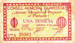 BILLETE LOCAL GUERRA CIVIL 1 PTS  CONSELL MUNICIPAL D`AMPOSTA - Espagne
