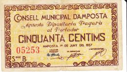 BILLETE LOCAL GUERRA CIVIL 50 CTS  CONSELL MUNICIPAL D`AMPOSTA - Espagne