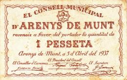 BILLETE LOCAL GUERRA CIVIL 1 PTS   CONSELL MUNICIPAL D`ARENYS DE MUNT - Espagne