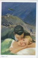COPPIE GUERRA II SOGNO TE ! TEMI DI AMORE GUERRA AEREO Artiglieria Pesante CARTOLINA Nr.428 - Couples