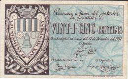 BILLETE LOCAL GUERRA CIVIL 25 CTS   AYUNTAMIENTO DE MONTSENY - Espagne
