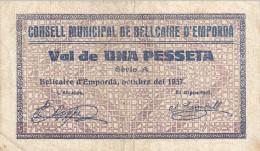 BILLETE LOCAL GUERRA CIVIL 1 PTS CONSELL MUNICIPAL DE BELLCAIRE D`EMPORDA - Autres
