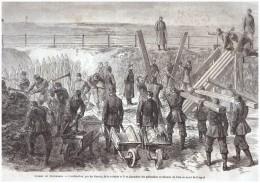 Gravure D Epoque  1863 GUERRE DU DANEMARCK   DANEMARK Danmark Guerre Des Duches Schleswig Redoute Duppel - Oude Documenten