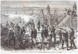 Gravure D Epoque  1863 GUERRE DU DANEMARCK   DANEMARK Danmark Guerre Des Duches Schleswig Redoute Duppel - Documentos Antiguos