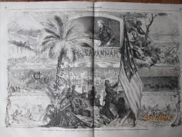Gravure D Epoque  1865 Guerre D Independance Georgie  American Civil War  PRISE SAVANNAH CAMPAGNE DU GENERAL  SHERMAN - Old Paper
