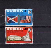 SEYCHELLES 1976 AMERICAN INDEPENDENCE BICENTENARY BICENTENARIO INDIPENDENZA D'AMERICA COMPLETE SET SERIE MNH - Seychelles (1976-...)