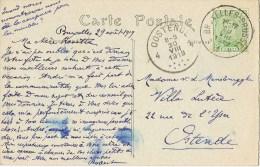 9528. Postal BRUXELLES (Belgica) 1919 A Ostende. Fechador GAND - Bélgica