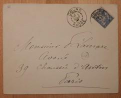 Enveloppe Affranchie Pour Paris Type Sage Oblitération Cours Type A Rhône 68 - Postmark Collection (Covers)