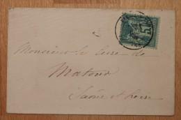 Enveloppe Affranchie Pour Matour Type Sage Oblitération Belleville Sur Saône Type 17 Rhône 68 - Postmark Collection (Covers)