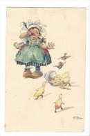 9810 -  Fillette En Pleurs Devant Son Bol Et Canards Illustrateur Fricero - Illustrators & Photographers