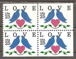 USA. Scott # 2441 MNH Pane Of 4 From Booklet. Love Birds 1989 - Palomas, Tórtolas