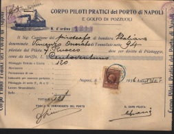 1936 FATTURA CORPO PILOTI PRATICI DEL PORTO DI NAPOLI - Boats