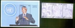 NEVIS Mi 948_50+bl99** UNO 50th ANNIV._NELSON MANDELA - St.Kitts And Nevis ( 1983-...)