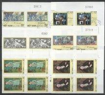 Vietnam 1987 Paintings, Picasso, 4 Imperf. Set In Block, Used T.373 - Vietnam