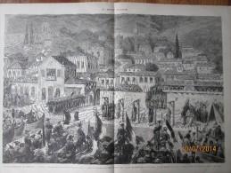 Gravure  D Epoque  1876 Evenements D Orient  Quai De Salonique  Grece  Executions Des Assassins Des Consuls - Non Classés