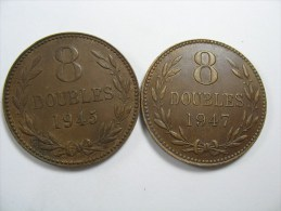 GUERNSEY 2 COINS  8 DOUBLES 1945 1947  LARGE  COIN 31 MM LOT NUM 110 - Guernesey