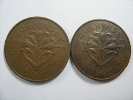 GUERNSEY 2 COINS  8 DOUBLES 1956 1959  LARGE  COIN 31 MM LOT NUM 111 - Guernesey