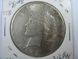 US USA 1 ONE PEACE  DOLLAR  1922 SILVER   LOT NUM 205 . - Émissions Fédérales