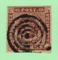 DEN SC #2a  Royal Emblems  1st Printing  4-margins  Target Cancel, CV $40.00 - 1851-63 (Frederik VII)