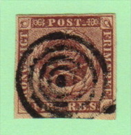 DEN SC #2a  Royal Emblems  1st Printing  4-margins  Target Cancel, CV $40.00 - Used Stamps