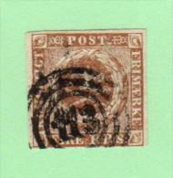 "DEN SC #2b  Royal Emblems  4-margins (close @ B)  ""113"" (Altona) In Concentric Circles, CV $55.00 - 1851-63 (Frederik VII)"