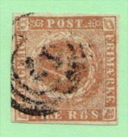 "DEN SC #2b  Royal Emblems  4-margins Defective ""B"" In ""RBS"", CV $55.00 - 1851-63 (Frederik VII)"