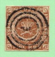 DEN SC #2b  Royal Emblems  4 Margins, CV $55.00 - 1851-63 (Frederik VII)