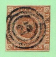 """DEN SC #2b  Royal Emblems  3+ Margins  """"25"""" (Horsholm) In Concentric Circles  Double FL@ LL, CV $55.00 - 1851-63 (Frederik VII)"""