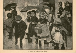 1896 GRAVURE 29.5 X 21 CM LA SORTIE DE CLASSE SIGNE GEOFFROY - Estampes & Gravures