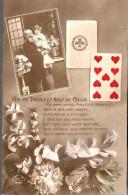 - FRANCE (cartes à Jouer) - CPA écrite 1915 - AS DE TREFLE ET NEUF DE COEUR - Série EKP 1420 - - Cartes à Jouer