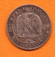 Napoléon III - 2 Cts De 1857 Atelier D (petit Lion ?? ) Bronze -cat Gadoury N° 103   Bon état  ( Nettoyée ) - Francia