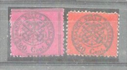 Italy Church State 1868 Coat Of Arms, 2 X 20C, Mi.23 A+b, MH AM.118 - Etats Pontificaux