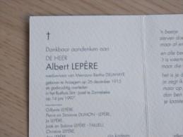 Doodsprentje Albert Lepère Anzegem 26/12/1915 Zonnebeke 14/6/1997 ( Betha Delahaye ) - Religion & Esotérisme