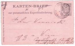 """1889- From Wien  : Karten-Brief  """" Zur Pneumatifchen .... """"  E P 15heller - 1850-1918 Imperium"""