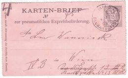 "1889- From Wien  : Karten-Brief  "" Zur Pneumatifchen .... ""  E P 15heller - 1850-1918 Impero"