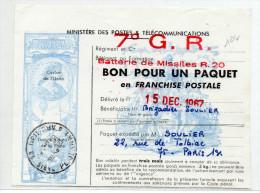 1968 - BON POUR UN PAQUET EN FRANCHISE POSTALE Du 7° G.R. BATTERIE DE MISSILES R.20 - Militaire Zegels (zonder Portkosten)