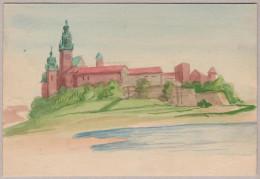 KRAKOW 1953-12-16 Krakow 2 Aquarell Handzeichnung - Pologne