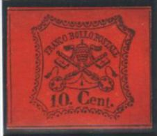 Italy Church State 1867 Coat Of Arms, 10C, Mi.15, SIGNED, Imperf., MH AM.153 - Papal States