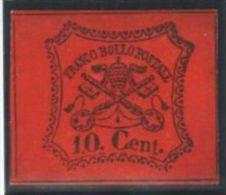 Italy Church State 1867 Coat Of Arms, 10C, Mi.15, SIGNED, Imperf., MH AM.153 - Etats Pontificaux