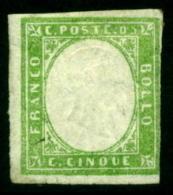 Italy Sardinia 1855 Definitives, King Viktor Emanuel II, 5c Emerald, MH AM.157 - Sardaigne