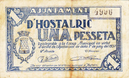 BILLETE LOCAL GUERRA CIVIL 1 PTS   AYUNTAMIENTO DE HOSTALRIC - Espagne