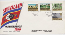 SWAZILAND - INDEPENDENCE 1968 - FDC - PREMIER JOUR - Sugar Cane - Iron Ore Mining - Ploughing - Labourage - Swaziland (1968-...)