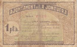 BILLETE LOCAL GUERRA CIVIL 1 PTS  AYUNTAMIENTO DE LA JONQUERA - Espagne