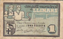 BILLETE LOCAL GUERRA CIVIL 1 PTS  CONSELL MUNICIPAL DE LLINARS - Espagne